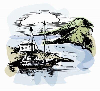 Картина Лодка на волнах у берега. Яхты иллюстрации. Вид на пляж. Акварельный пейзаж. Векторные иллюстрации