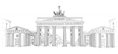 Картина Бранденбургские ворота. Берлин символ арки. Ручной обращается эскиз карандаша векторные иллюстрации на белом фоне