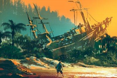 Картина Покинутый человек, стоящий на острове пляж с заброшенной лодки на закате, иллюстрации живопись