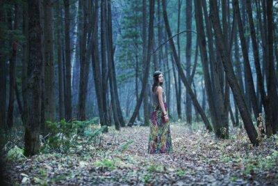 Картина Девушка в темном лесу