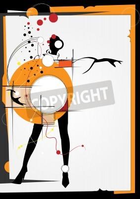 Картина Девушка в стиле кубизма. Квадраты, краски, черный фон