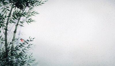 Картина Птичка в бамбуковой роще. Картина в японском стиле