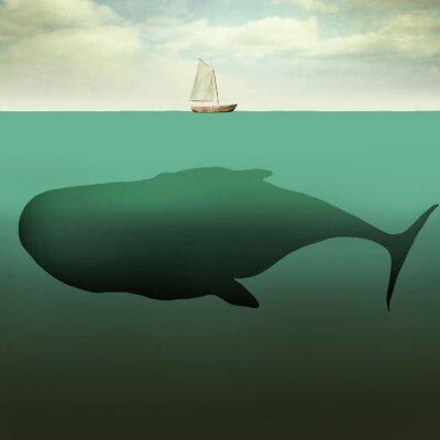 Картина Маленькая лодка и гигантский кит
