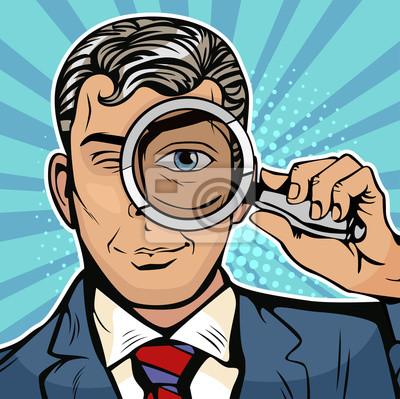 Мужчина детектив смотрит через лупу в поисках. Векторные иллюстрации в стиле поп-арт ретро комиксы