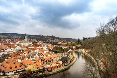 Картина Старый вид на город от замка Чески Крумлов в облачный день