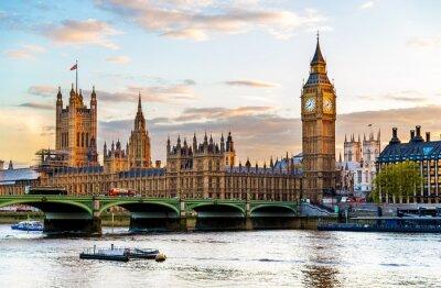 Картина Вестминстерский дворец в Лондоне вечером - Англия