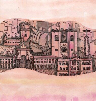 Картина панорамный вид на город лиссабон стороны обращено на обои, изолированные на цветном фоне
