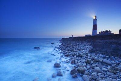 Картина Портленд Билл Маяк в графстве Дорсет, Англия в ночное время