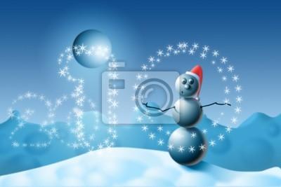 Снеговик жонглирует снежинки.