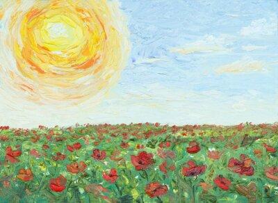 Картина Солнце над маковое поле, живопись, холст, масло