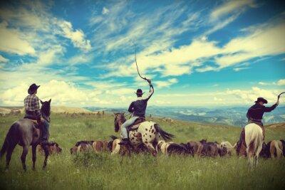 Картина Three cowboys drive herd of horses , toning, vignetting