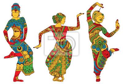Три силуэты танцующих женщин окрашены в стиле мехенди
