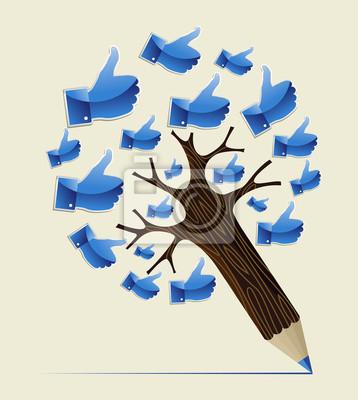 Большой палец вверх ОК концепция карандаш дерево