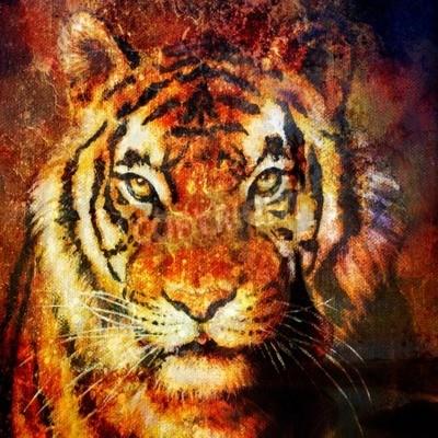 Картина Тигр головы, абстрактный фон, компьютерный коллаж, Зрительный контакт