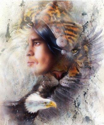 Картина тигр с орлом и индийский воин и головной убор иллюстрации. Дикие животные на фоне картины, контакт глаз, белый, черный и коричневый цвет