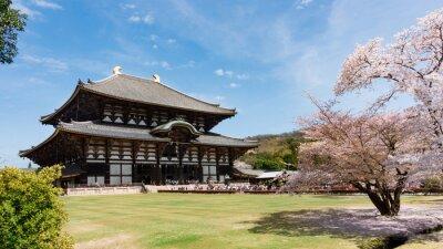 Картина Todaiji Храм в сакуры сезона в Нара, Япония