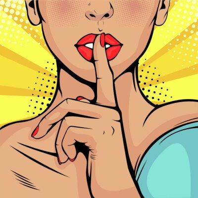Картина Совершенно секретно молчание девушки. Красивая женщина приложила палец к губам, призывая к тишине. Красочный фон вектор в стиле поп-арт ретро комиксов.
