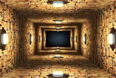 Картина Вид сверху старого затопленного шахты лифта или колодца с кирпичными стенами и точечными светильниками