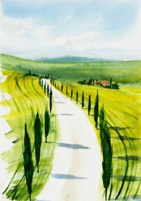 Картина Toscana landscape. Watercolor illustration