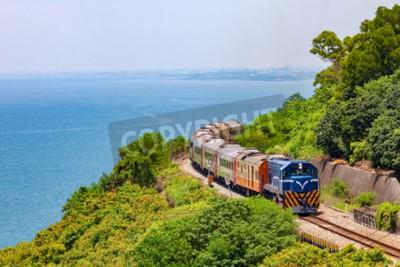 Картина Поезд на железной дороге возле станции Фаншань в пингтунге, тайвань