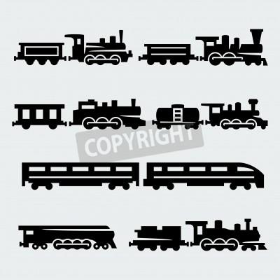 Картина поезда силуэты набор