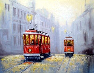 Картина Трамвай в старом городе, пейзаж с маслом