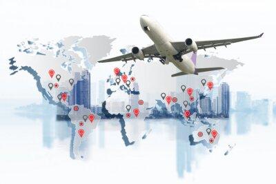Картина Транспорт, концепция импорта-экспорта и логистики, контейнерный грузовик, судно в порту и грузовом грузовом самолете в транспортной и импортно-экспортной коммерческой логистике, судоходство