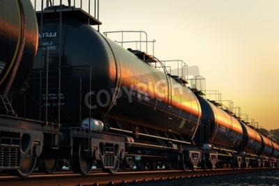 Картина Транспортировка цистерн с нефтью во время заката.