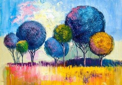 Картина Деревья, живопись маслом, художественный фон