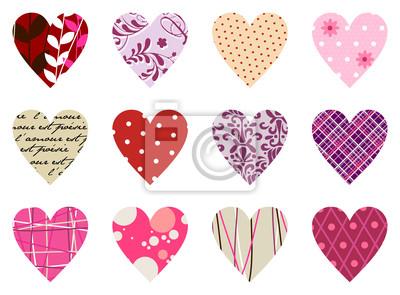 Модные модели сердца на белом фоне