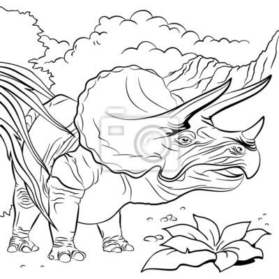 Triceratops динозавр для книжке-раскраске