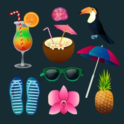 Картина Тропические элементы Набор: Коктейли, цветы, солнечные очки, птица, ананас