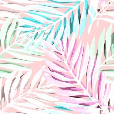 Картина Тропический узор из пальмовых листьев. Модный дизайн печати с абстрактной листвой джунглей. Экзотический бесшовный фон. Векторные иллюстрации