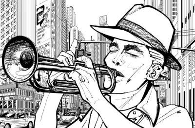 Картина трубач в Нью-Йорке