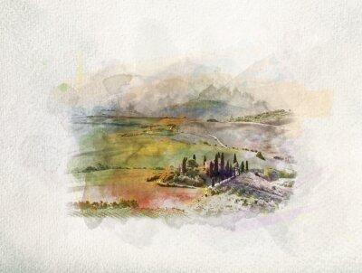 Картина Тоскана пейзаж на рассвете в акварели.