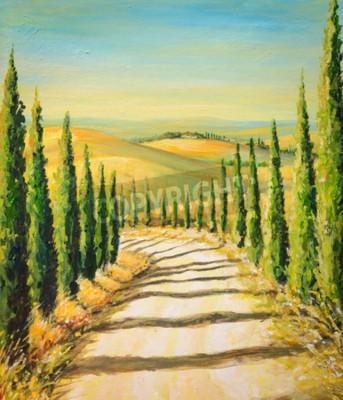 Картина Тоскана: сельский пейзаж с дорогой, полями и холмами. Изображение создано акриловыми красками.
