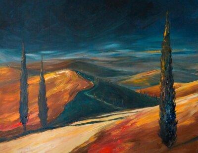 Картина Тосканская долина на закате. Фотография создана акрилами.
