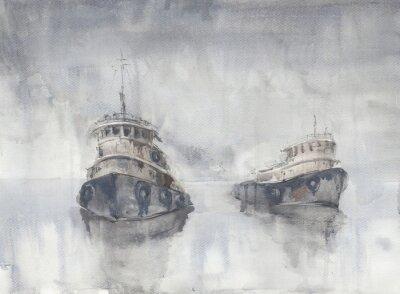 Картина Две лодки в море. Туманная погода. Дождь. Море. Фишинд кораблей.