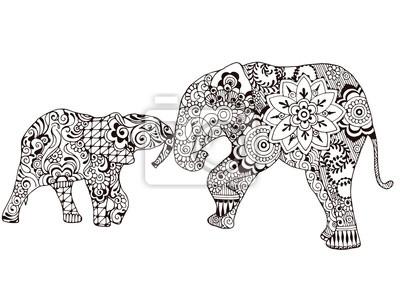 Два слона украшены индийскими узорами. Изысканные узоры в стиле mehndi.