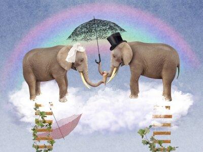 Картина Два слона в любви с зонтиками.