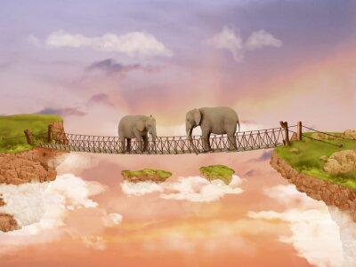 Картина Два слона на мосту в небе