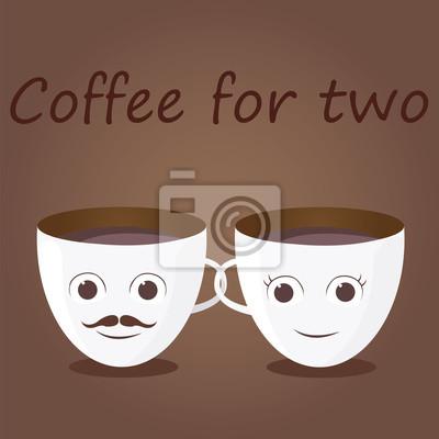 Две смешные чашки кофе с надписью. Иллюстрация плоский дизайн.
