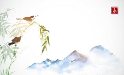 Картина Две маленькие птички, бамбуковая ветвь и далекие голубые горы. Традиционная восточная роспись тушью Суми-э, у-син, го-хуа. Иероглиф - вечность.