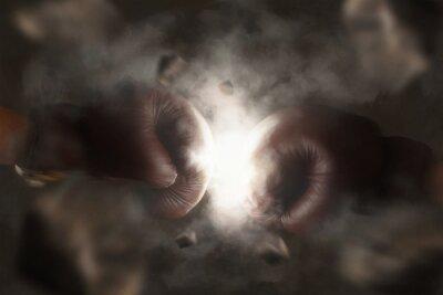 Картина Два старых коричневый боксерские перчатки ударил вместе