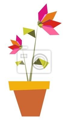 Два Оригами ярких цветов цветы.