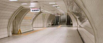Картина Underground subway station hallway tunnel with escalator. Abstract perspective view