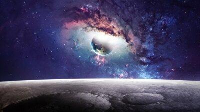 Картина Вселенная сцены с планет, звезд и галактик в космическом пространстве, показывая красоту освоения космоса. Элементы, предоставляемые НАСА