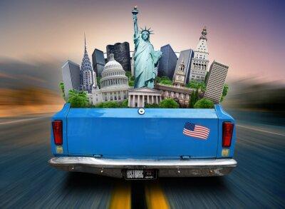 Картина США, достопримечательности США в багажнике движущегося автомобиля