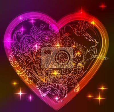 Валентина с цветочным сердцем и птиц