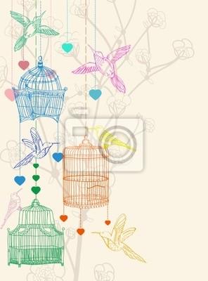 Валентина рука рисунок фон с птицами, цветами и клетки